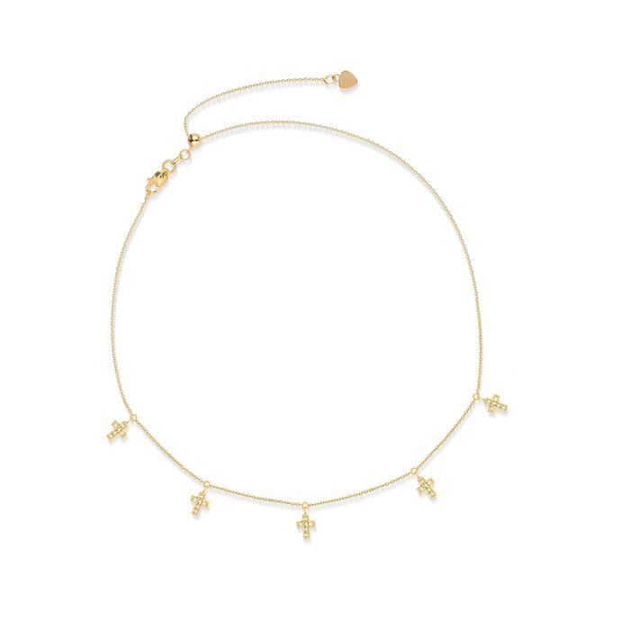 .15 ct. t.w. CZ Multi-Cross Choker Necklace in 14kt Yellow Gold, , default