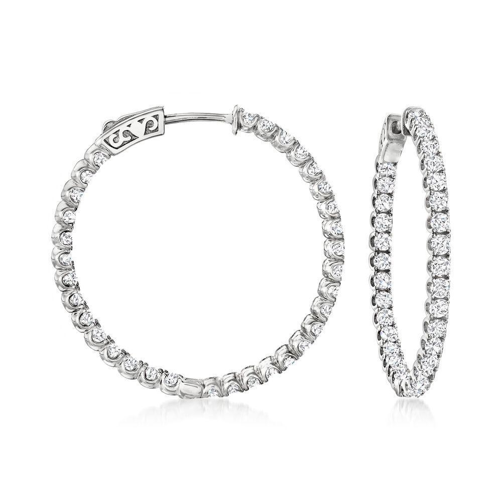 T W Cz Inside Outside Hoop Earrings In Sterling Silver 1