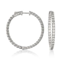 "3.30 ct. t.w. CZ Inside-Outside Hoop Earrings in Sterling Silver. 1 1/4"", , default"