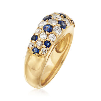 C. 1990 Vintage .85 ct. t.w. Pave Diamond and .72 ct. t.w. Sapphire Ring in 18kt Yellow Gold. Size 5.5, , default