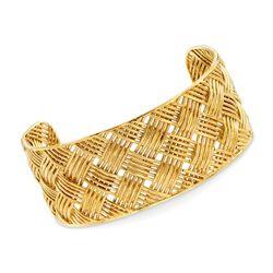 """Italian 18kt Gold Over Sterling Basketweave Cuff Bracelet. 7.5"""", , default"""