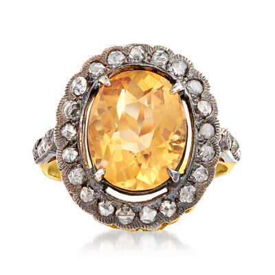 C. 1980 Vintage 3.69 Carat Citrine and .60 ct. t.w. Diamond Ring in Sterling Silver and 14kt Gold Over Sterling