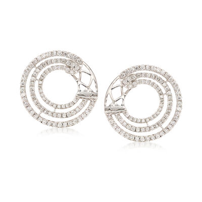 .96 ct. t.w. Diamond Multi-Circle Hoop Earrings in 18kt White Gold, , default