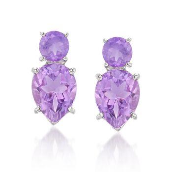4.00 ct. t.w. Amethyst Stud Earrings in Sterling Silver, , default