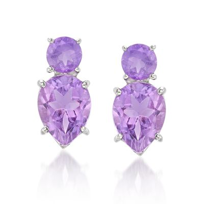 4.00 ct. t.w. Amethyst Stud Earrings in Sterling Silver, , default