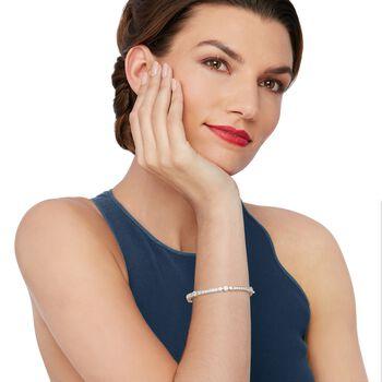 """Belle Etoile """"Coronet"""" 4.50 ct. t.w. CZ Bangle Bracelet in Sterling Silver. 7"""", , default"""