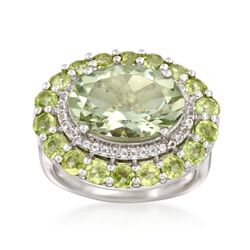 5.00 Carat Green Amethyst and 2.30 ct. t.w. Peridot Ring With White Topaz in Sterling Silver, , default