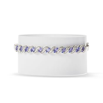 1.90 ct. t.w. Tanzanite Bangle Bracelet With Diamond Accents in Sterling Silver, , default
