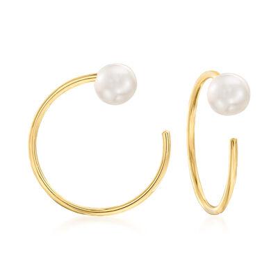 4-4.5mm Cultured Pearl C-Hoop Earrings in 14kt Yellow Gold