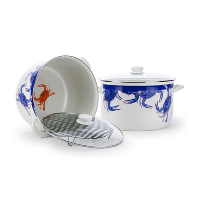 "Golden Rabbit ""Blue Crab"" 18 qt. Stock Pot with Rack, , default"