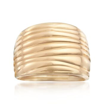 Italian 18kt Yellow Gold Ribbed Ring. Size 5, , default