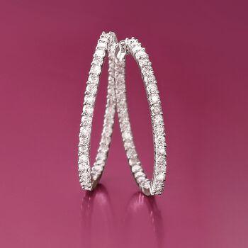 """5.00 ct. t.w. Diamond Inside-Outside Hoop Earrings in 14kt White Gold. 1 1/2"""", , default"""