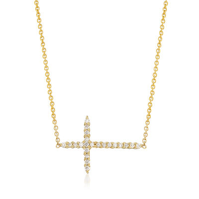 Roberto Coin .10 ct. t.w. Diamond Sideways Cross Necklace in 18kt Yellow Gold, , default