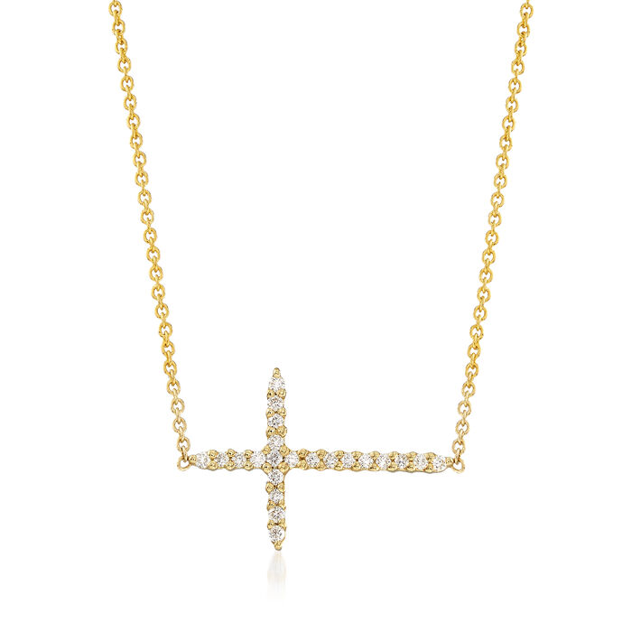Roberto Coin .10 ct. t.w. Diamond Sideways Cross Necklace in 18kt Yellow Gold. 157, , default