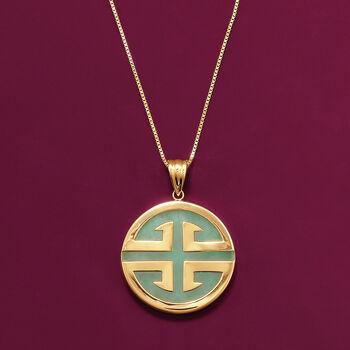 "Green Jadeite Jade ""Longevity"" Chinese Symbol Circle Pendant in 14kt Gold , , default"