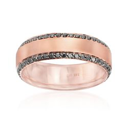Henri Daussi Men's 1.05 ct. t.w. Black Diamond Wedding Ring in 14kt Rose Gold. Size 10, , default