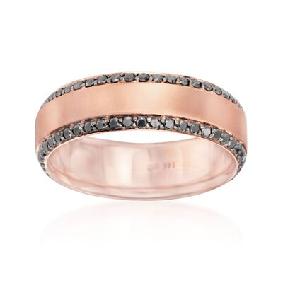 Henri Daussi Men's 1.05 ct. t.w. Black Diamond Wedding Ring in 14kt Rose Gold, , default