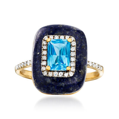15x12mm Lapis, 1.10 Carat Blue Topaz and .20 ct. t.w. Diamond Ring in 14kt Yellow Gold, , default