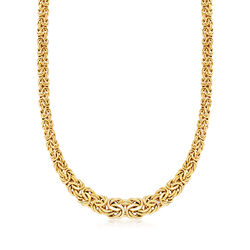 Italian 14kt Yellow Gold Graduated Byzantine Necklace, , default