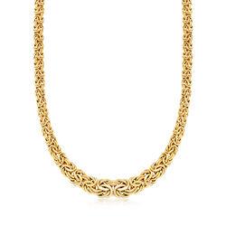 Italian 14kt Yellow Gold Graduated Byzantine Necklace, , default