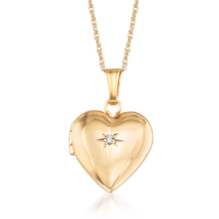 "Child's 14kt Yellow Gold Small Heart Locket Necklace with Diamond Accent. 15"", , default"