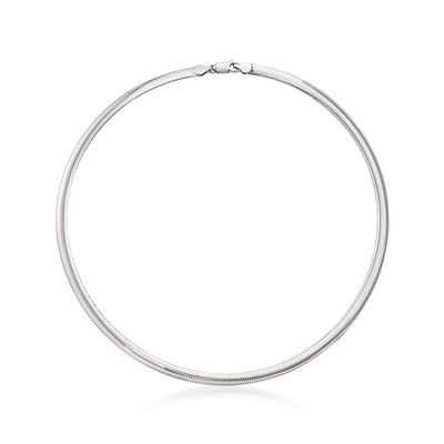 Italian 6mm Sterling Silver Omega Necklace, , default