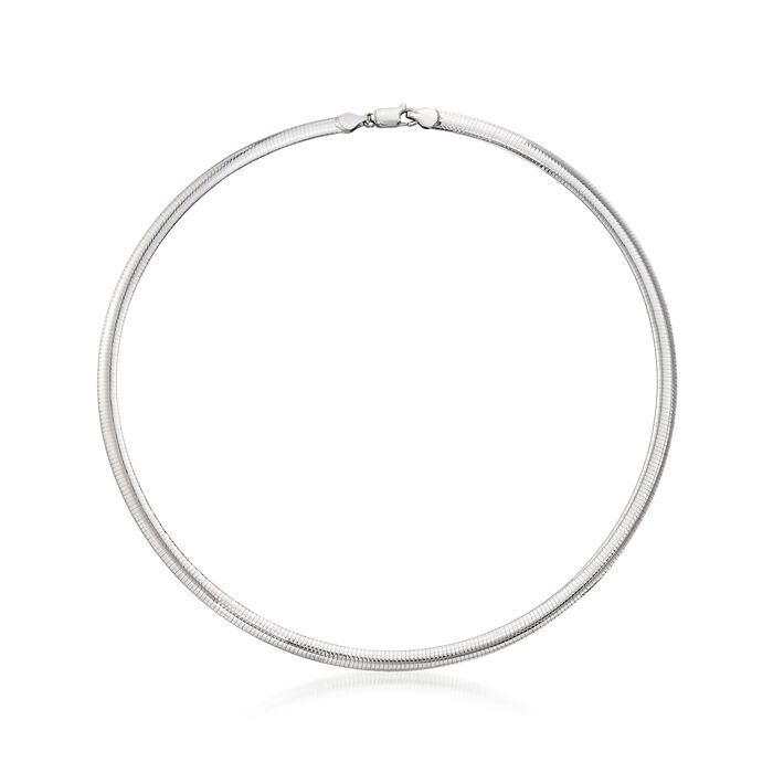 Italian 6mm Sterling Silver Omega Necklace