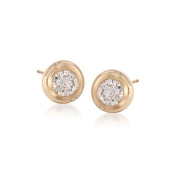 .75 ct. t.w. Double Bezel-Set Diamond Stud Earrings in 14kt Yellow Gold, , default