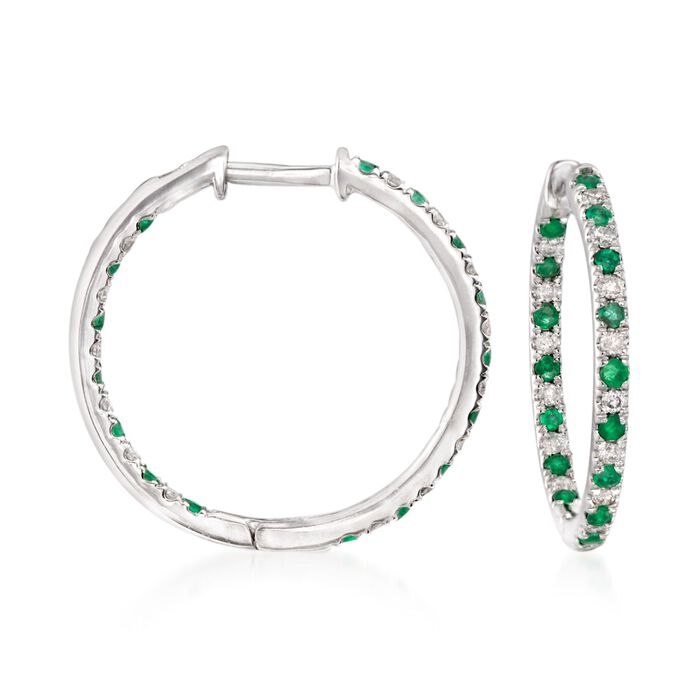 ".50 ct. t.w. Diamond and Emerald Inside-Outside Hoop Earrings in 14kt White Gold. 3/4"", , default"