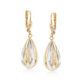 14kt Two-Tone Gold Teardrop Earrings. Leverback Earrings, , default