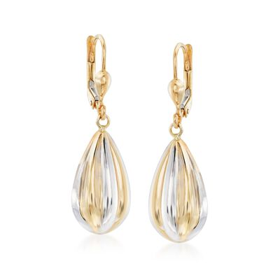 14kt Two-Tone Gold Teardrop Earrings, , default