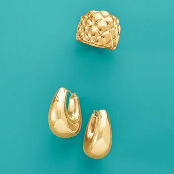 Italian Andiamo 14kt Yellow Gold Checkered Ring. Size 5, , default