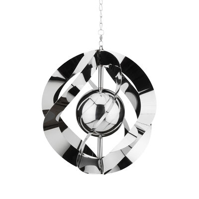 "Regal ""Vogue"" Set of 2 Silver Metal Hanging Outdoor Wind Spinners, , default"