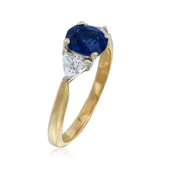 C. 1990 Vintage 1.51 ct. t.w. Sapphire and .60 ct. t.w. Diamond Ring in 18kt Yellow Gold. Size 7, , default