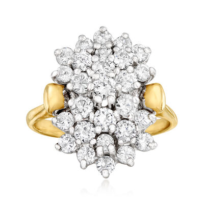 C. 1980 Vintage 1.65 ct. t.w. Diamond Cluster Ring in 14kt Yellow Gold, , default