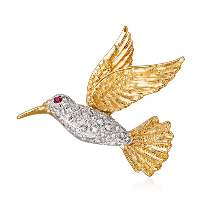 C. 1970 Vintage .50 ct. t.w. Diamond Hummingbird Pin with Ruby Accent in 14kt Yellow Gold