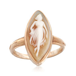 C. 1910 Vintage Marquise Carved Shell Cameo Ring in 10kt Yellow Gold. Size 5, , default