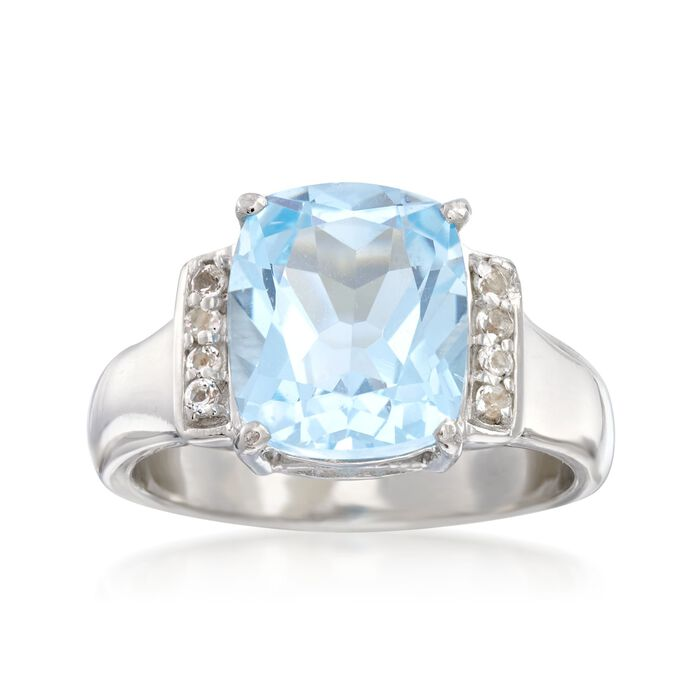 3.90 Carat Blue Topaz and .10 ct. t.w. White Topaz Ring in Sterling Silver, , default
