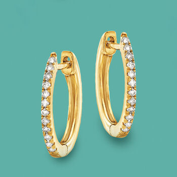 """.10 ct. t.w. Diamond Huggie Hoop Earrings in 14kt Yellow Gold. 3/8"""""""