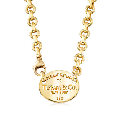 C. 1990 Vintage Tiffany Jewelry Tag Cable-Link Necklace in 18kt Yellow Gold, , default