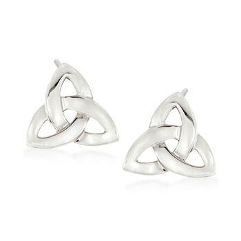 Sterling Silver Celtic Trinity Knot Earrings, , default