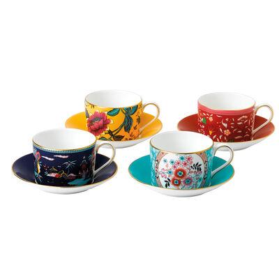 """Wedgwood """"Wonderlust"""" Set of 4 Teacups and Saucers"""