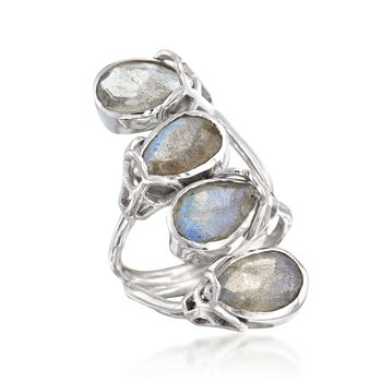 Labradorite Double Bypass Ring in Sterling Silver, , default