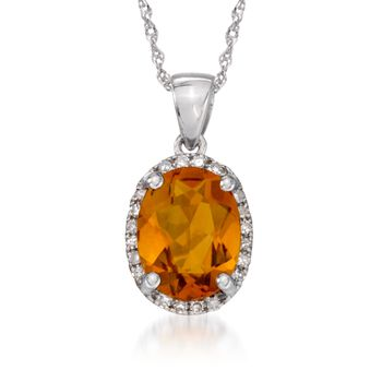 """1.65 Carat Citrine Pendant Necklace With Diamonds in 14kt White Gold. 18"""", , default"""