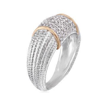 .33 ct. t.w. Pave Diamond Band Two-Tone Ring in Sterling Silver, , default