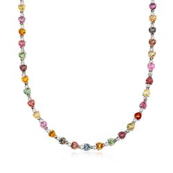"C. 1990 Vintage 30.50 ct. t.w. Multicolored Sapphires and 1.15 ct. t.w. Diamond Necklace in 18kt White Gold. 16"", , default"