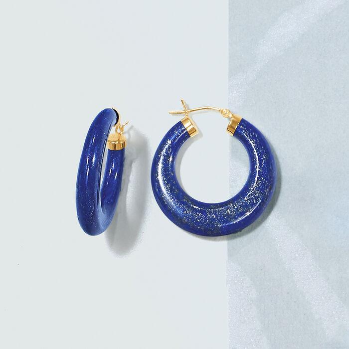 Lapis Hoop Earrings 14kt Yellow Gold