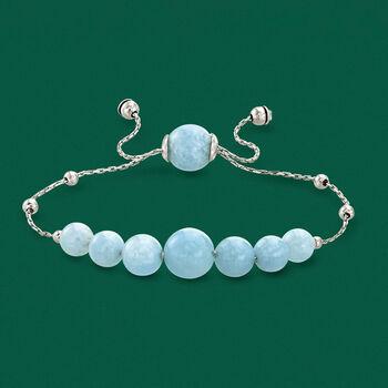 28.45 ct. t.w. Graduated Aquamarine Bead Bolo Bracelet in Sterling Silver, , default