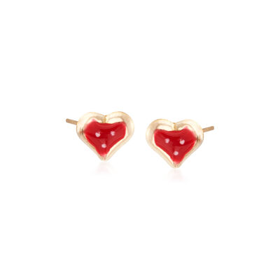 Child's Enamel Heart Stud Earrings in 14kt Yellow Gold