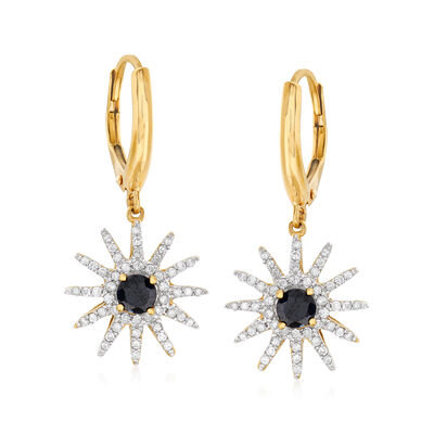 .50 ct. t.w. Sapphire and .49 ct. t.w. Diamond Sun Charm Drop Earrings in 18kt Yellow Gold Over Sterling Silver, , default